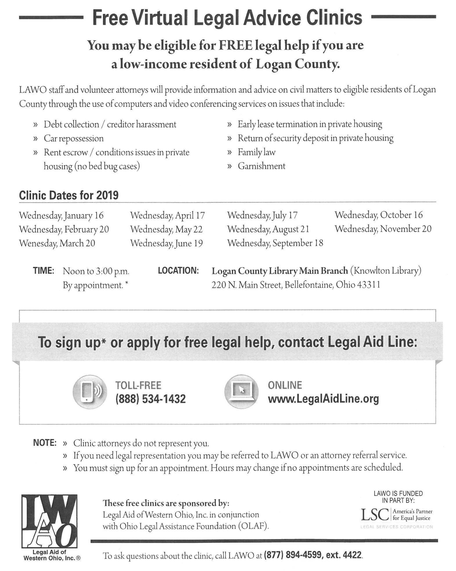 Free Legal Advice Clinics at the Knowlton Library | Logan